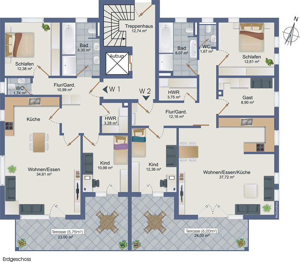 wohnen mit blick auf das kaiser wilhelm denkmal. Black Bedroom Furniture Sets. Home Design Ideas